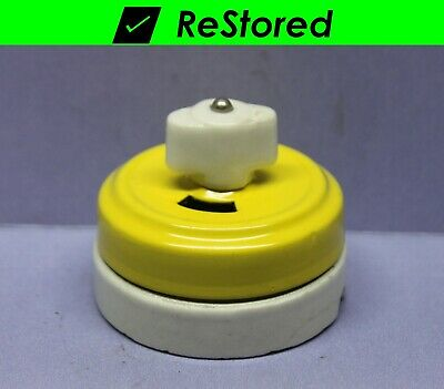 💡 Vintage Rotary Light Switch, Yellow/Porcelain Round Single-Pole Turn, GE