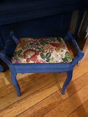 Vintage Antique dressing table Piano Stool With storage Upholstered Blue
