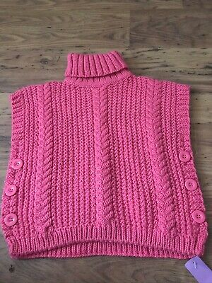 GIRLS PINK HIGH NECKLINE SLEEVELESS JUMPER age 11 - 13 years NEW WITH TAGS
