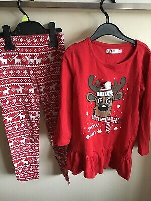 Girls Bonprix Christmas Tunic And Leggings Outfit Age 5-6 Good Con.