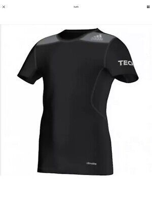Boys Adidas Techfit Fitted Performance T-shirt Black Climalite 11-12 Years BNWT