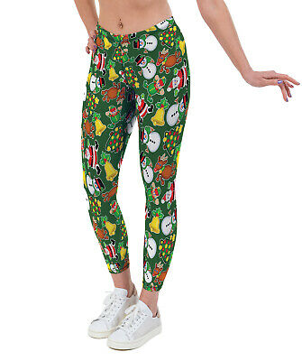 Festive Fun (Christmas) Print Lycra Leggings (Recycled Fabric Option Available)