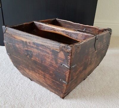 Antique Old CHINESE WOOD & METAL Grain Rice CARRIER BOX LARGE BASKET Handmade