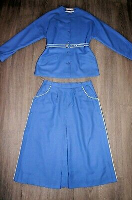 Jacket skirt suit 2 piece blue wool smart tailored + belt vintage 70s 80s