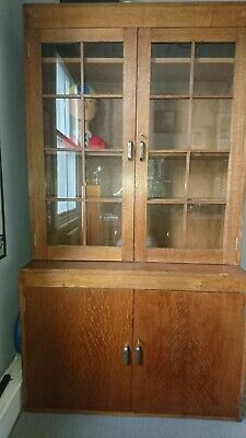 LIBRARY BOOKCASE  SOLID OAK GLAZED 1930's