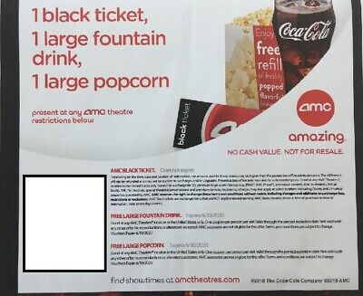AMC Movie Theater - 1 Black Ticket, 1 Large Popcorn, 1 Large Drink
