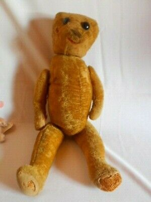 Large Size Humpback Teddy Bear From Early 1900S Fully Jointed Shoe Button Eyes
