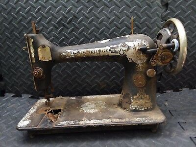Antique Singer 127 Sphinx Egypt Pyramid Sewing Machine HEAVY DUTY Ornate As Is