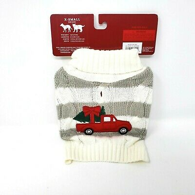 Pet Sweater Dog Christmas Size X Small Puppy White Gray Holiday Red Truck NEW