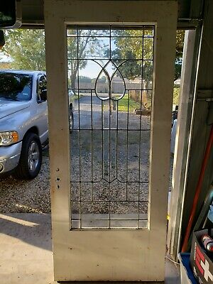 Antique Pine Door With Beveled Leaded Glass  Architectural Salvage