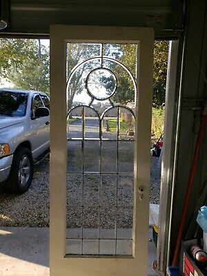 Antique Pine Door With Full Beveled Leaded Glass  Architectural Salvage