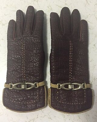 Vintage Aris Snuggler Womans Gloves Maroon Size R Gold Tone Buckle Faux Leather
