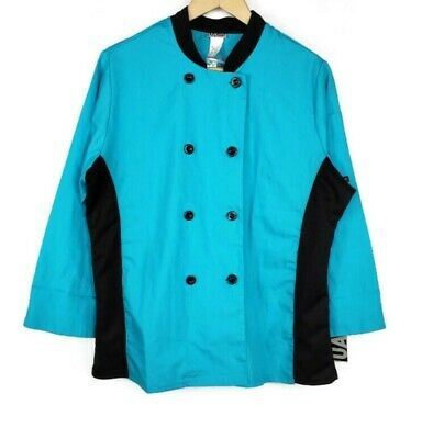 Restaurant Cook Uniform Short Sleeve Chefs Coat Top Jacket Shirt Turquoise Large
