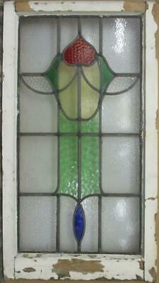 "LARGE OLD ENGLISH LEADED STAINED GLASS WINDOW Pretty Abstract Drop 18.5"" x 34"""