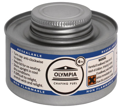 Olympia CB734 Chafing Liquid Fuel, 4 hour, Silver Pack of 12