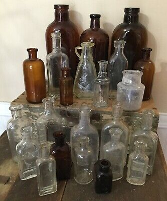 Old Vtg Antique Medicine Apothecary Brown Clear Cork Top Glass Bottle  Lot Of 23