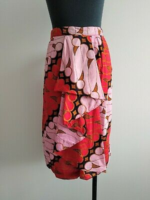 Vintage Retro Pink Red Pattern Ruffle Pencil Skirt High Waisted AU 12 14 XL
