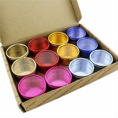 Beads Findings S7540 2x Aluminium 12 Clear Storage Boxes in Tray 53mm Dia Pots
