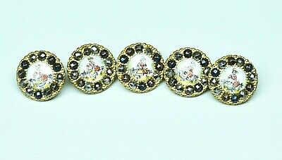 5 Antique 19th C French Hand Painted Porcelain Buttons Cut Steel Border 12mm