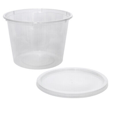 500x Clear Plastic Container with Flat Lid 790mL Round Disposable Rice Dish