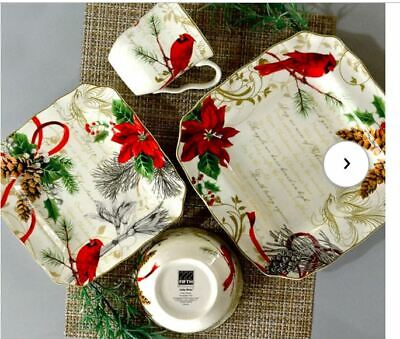 222 Fifth 16-piece Cardinal and Poinsettias Dinnerware Set Service for 4 NEW