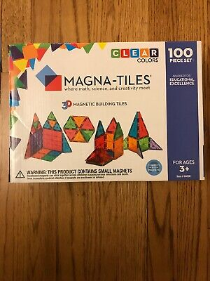 NEW Magna Tiles 100pc Clear Color 3D Magnetic Building Tiles Valtech