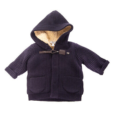 RRP €270 ARMANI BABY Knitted Jacket Size 6M 62CM Wool Blend Sherpa Inside Hooded