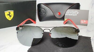 RAY BAN SCUDERIA FERRARI Sunglasses RB3460M F008/71 Silver Mirror Black Red RB