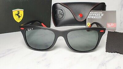Ray-Ban Scudetia Ferrari Lifeforce RB4195M Black Red Green Square Shades Sunnies
