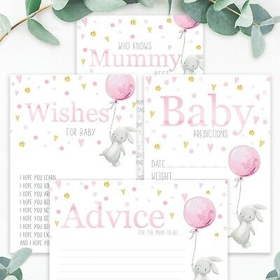 BABY SHOWER GAMES Rabbit Girl Pink Favours Prediction Card Who Knows Mummy Best
