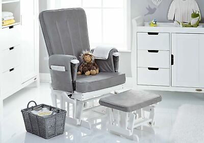 Obaby 7 Position Deluxe Reclining Glider Nursing Chair & Stool, White