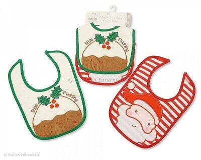 Baby Boys Girls Pack of 2 Quality 100% Cotton Christmas Pudding & Santa Bibs
