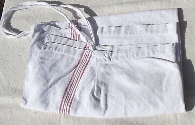Antique French apron red striped pinny Bistro chef kitchen cook