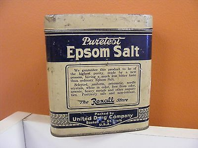 Vintage Puretest Epsom Salt (Rexall) Tin Can One Pound Size