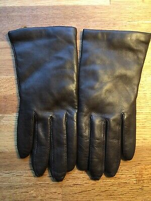 Lord & Taylor Ladies Brown  Leather Winter Gloves Cashmere Knit Lining Size 7.5