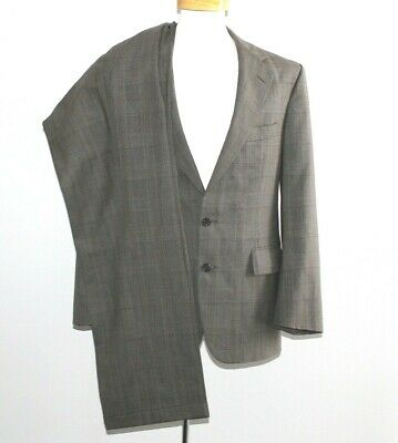 POLO UNIVERSITY CLUB SUIT Check Beige 100% WOOL Men 40R 40 Regular 2 Button USA