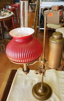 Antique Student Oil Lamp ~Electrified~ Red Case Glass / Brass~  Circa 1890-1910