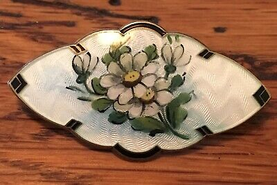 Antique Guilloche Enamel BERNARD MELDAHL Sterling Silver Norway Brooch 1950s