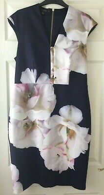 Beautiful Ted Baker Dress Black and Floral   size 12  (4)