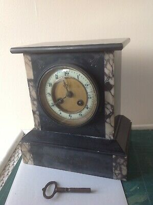 Vintage French Slate & Marble Mantle Clock With Key.
