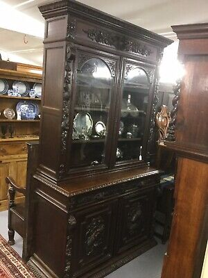 Large Highly Carved Glazed Bookcase / Dresser / Hunting Cabinet Sn-p
