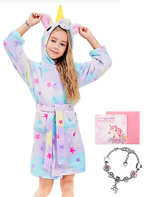 Soft Unicorn Hooded Set Bathrobe Sleepwear for Girls Doll Starry, 8-9Y