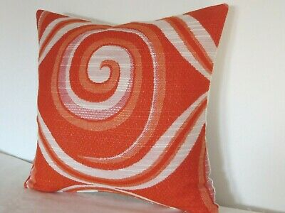 """Vintage Genuine fabric Geometric 1960s/70s Orange/Red and White16"""" Cushion Cover"""