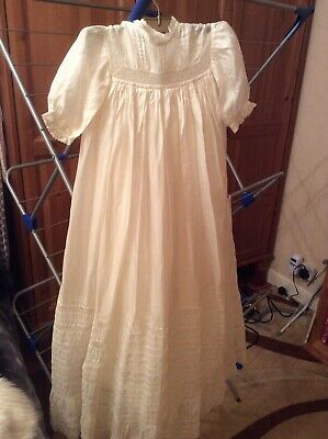 Gorgeous victorian christening Gown Probably Silk Includes Petticoat