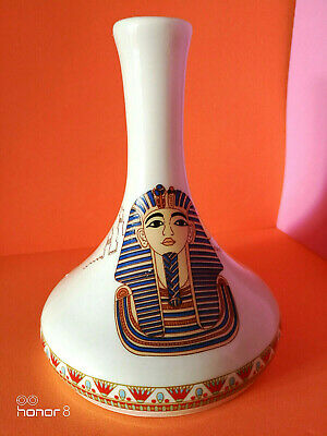 FRANCE ART DECO T. LIMOGES HAND DECORATED EGYPTIAN PHARAOH ANTIQUE VASE 1935's