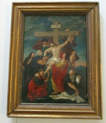 Antique 19Th Century Or Older Old  Master Painting Portrait  Icon Crucifixion