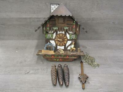 Black Forest Edelweiss Holzhacker Buban Cuckoo Clock For Parts or Repair