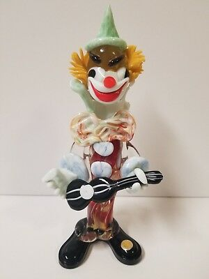 Vintage Murano Hand Blown Glass Clown with Instrument Made in Italy