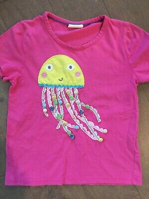 Mini Boden Girl's Jelly Fish Appliqué Top Shirt 6-7 Hot Pink