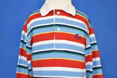 vintage 80s IZOD LACOSTE LONG SLEEVE RED BLUE WHITE STRIPE POLO SHIRT YOUTH S